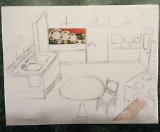 I Love Lucy Original Drawing Sketch Print Lucy's Kitchen Ivy Dishes & Bread