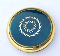 Ladies Powder Compact 1970s Blue Metallic Enamel Engraved Starburst Sifter Vtg