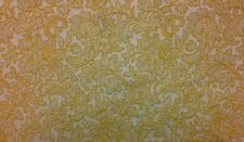 "WAVERLY FLORAL STRIPE YELLOW JACQUARD FURNITURE CUSHION FABRIC BY THE YARD 55""W"