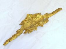 19TH Antique French Gilded Bronze Shell Pediment Hardware Furniture Salvage 15""