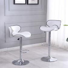 New SET of (2) Bar Stools Leather Hydraulic Swivel Dinning Chair Barstools Pub