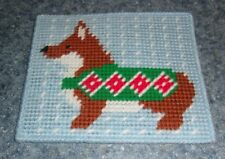 Brand New Red and White Corgi Winter Needlepoint Sign For Dog Rescue Charity