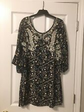 Xhilaration Dress Medium Floral Boho Hippie Chic Navy Cute