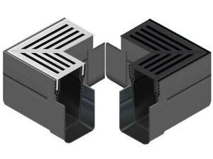 ACO Slimline Threshold Channel Drain Corner Unit Silver / Black