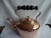 ANTIQUE VICTORIAN COPPER & BRASS KETTLE TIN LINING HEIGHT 24 X 24 cm