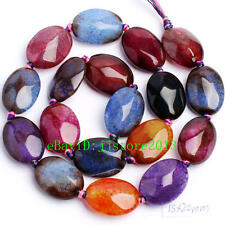 """15x20mm Faceted Cracked Multicolor Agate Oval Shape Gemstone Beads Strand 15"""""""