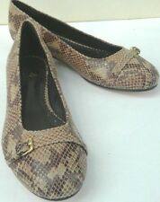 Brooks Brothers womens flats brown leather snakeskin pattern women 8.5 buckle