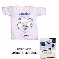 Mini tee shirt voiture bébé garçon à bord personnalisé réf 18