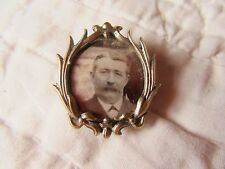 SO LOVELY! FRENCH ANTIQUE XIX th C. SILVERY METAL PHOTO PIN BROOCHE