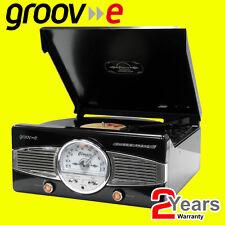 Groov e gvtt 02/BK classic vinyl record player avec radio fm & construit en haut-parleurs