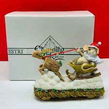 Charming Tails tales figurine sculpture vtg mice mouse Mackenzie Claus sled deer