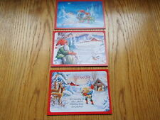 3 NEW Scandinavian Swedish Christmas Postcards Lars Carlsson Tomte Gnome Nisse