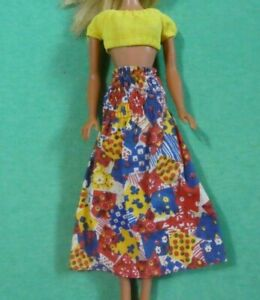 Vintage Barbie Doll Clothes  - MOD Era Barbie 7414 Yellow Top & Patchwork Skirt