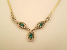 "Estate Jewelry 14k Yellow Gold Necklace w/ Diamond & Emerald Pendant 15.5"""