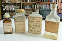4 Vintage HOFFMAN DRUG STORE HICKSVILLE OHIO Bottles, Defiance County Ohio