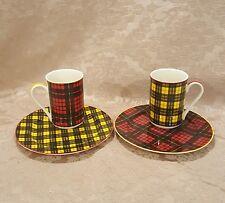 "Jeffrey Banks Home Tartan Plaid 2-8"" plates and 2 mugs"