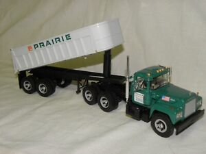 FIRST GEAR#19-2517-PRAIRIE MATERIALS MACK R MODEL DUMP TRAILER-TANDEM TRACTOR