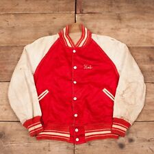 "Mens Vintage Butwin 50s Red Reversible Satin Letterman Jacket Medium 40"" XR 8722"
