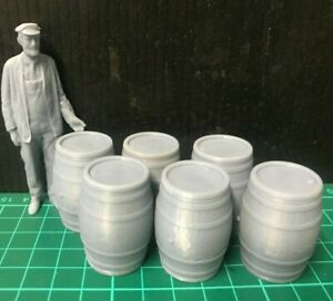 G-scale model scenery - six oak barrels - also suitable for GN15