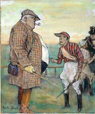 Walter Miehe Berlin Gemälde Gouache Pferderennbahn Rennstallbesitzer und Jokey