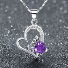 Love Heart 925 Sterling Silver Pendant Chain Crystal Necklace Womens Jewellery