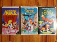 (Lot3) Disney Black Diamond Classic Alice Rescuers Fox VHS RARE HTF OOP
