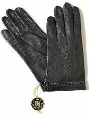 Handschuhe Leder Damen Kaiser Leather Finger ohne Futter Muster Schwarz 6,5