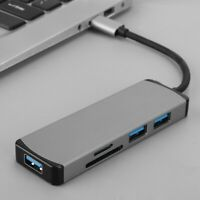 5-IN-1 HUB Adapter Type-C USB C to 3 ports USB TF Card Reader Docking Converter