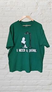 Vintage Snoopy Tshirt Green I Need A Drink Oversized Fit XXL