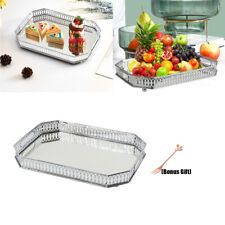Silver Mirror Fruit Jewelry Metal Serving Tray Decorative Display Plate