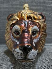 "Slavic Treasures ""Large Lion Head"" Glass Ornament"
