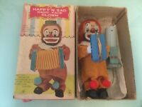 1960's BATTERY OPERATED HAPPY 'N SAD MAGIC FACE CLOWN CARNIVAL CIRCUS TOY