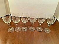 """6 Vintage Clear Stemmed Claret Wine Glasses Frosted Etched Grape & Vine 6-3/4"""""""
