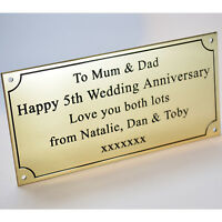 """Engraved Solid Polished Brass 6""""x3"""" Plaque Plate Sign Bench Memorial Pet +Screws"""