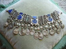 HAND CRAFTED BEDOUIN NECKLACE W LAPIS/ VERY LARGE & ELABORATE/ NO CHAIN