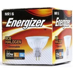 Packs of 16w (=20w) Energizer MR16 ECO Halogen Bulbs, 12v - Warm White (3000k)