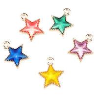 10PCS Light Gold Enamel Mix Star Pendant Jewelry Finding Making