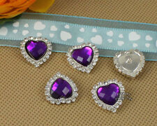 10 Rhinestone Purple Acrylic Gem Silver Heart Button Embellishments DIY Jewelry