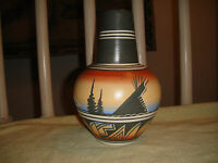 Vintage M. Salazar Navajo Signed Painted Vase 1987 Painted Details