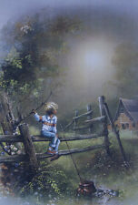 ANDRES ORPINAS Old farm, boy with fishing pole on fence