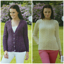 KNITTING PATTERN Ladies Long Raglan Sleeve Cable Cardigan & Jumper Aran KC 4347
