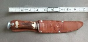 EDGE BRAND  No 464 HUNTING KNIFE STAG HANDLE W/LEATHER SHEATH SOLINGEN GERMANY