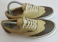 Vans Leather Wing Tip Mens Trainers Shoes UK 7 US 8 EU 40.5 Khaki Brown Lace Up