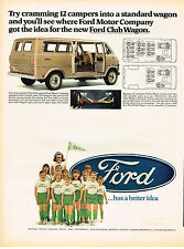Vintage 1969 Magazine Ad Ford Club Wagon Gives More Space Than Any Others