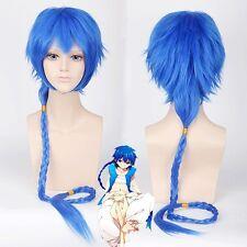 High Quality MAGI Aladdin Long Straight Braid Cosplay Wigs Hair Wig 120cm Blue