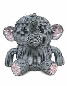 Large Gray Elephant Rattan Storage Basket Hand Woven Shelf Organizer Wicker Gift