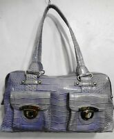 Kathy Van Zeeland Lavender Purple Faux Croc Vinyl Satchel Shoulder Bag Handbag