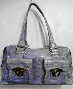 Kathy Van Zeeland Lavender Faux Croc Vinyl Vegan Satchel Shoulder Bag Handbag