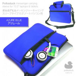 "Blue Travel Neoprene Sleeve Case Shoulder Messenger Bag for 13"" 13.3"" Laptop"