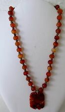 """Antique Chinese Carved Orange Carnelian Agate Bead Necklace - 17"""""""